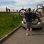 Getting ready to cycle at Severn Beach